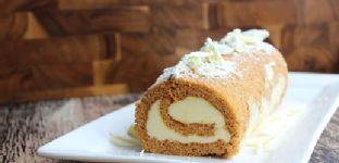 Pumpkin Roll with White Chocolate Cream Cheese