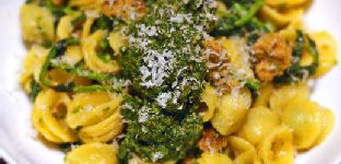 Orecchiette With Broccoli Rabe, Spicy Italian Sausage, and Pesto