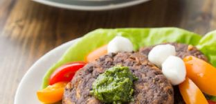 Black Bean and Sweet Potato Fritters with Pistachio Pesto