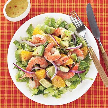 Салат с креветками авокадо апельсинами