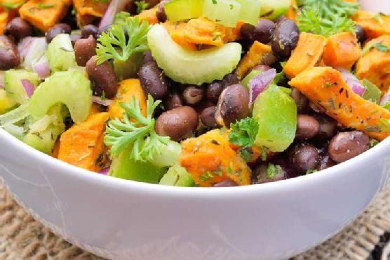 Clean Eating Black Bean Roasted Sweet Potato Salad