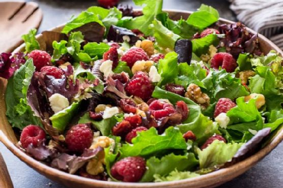 Baby Lettuce Salad with Raspberries, Cranberries and Feta