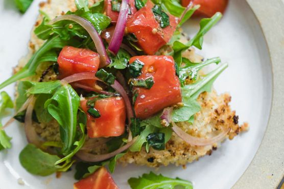 Baked Chicken Milanese with Arugula Salad and Tomatoes