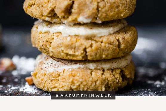 Healthy Soft Pumpkin Cookies with Salted Maple Frosting
