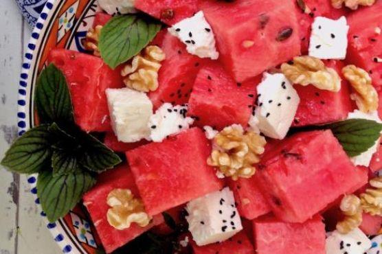 Watermelon Salad with Feta, Walnut & Nigella Seeds