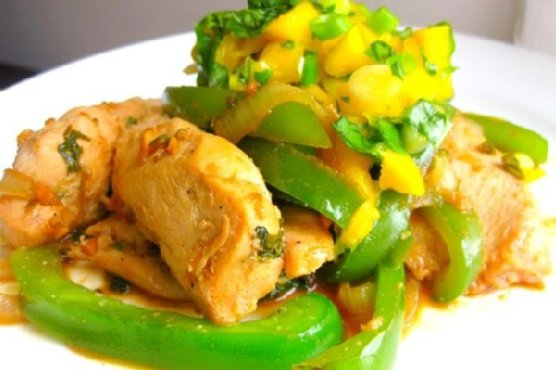 Spicy Coconut Chicken With Mango Basil Salsa