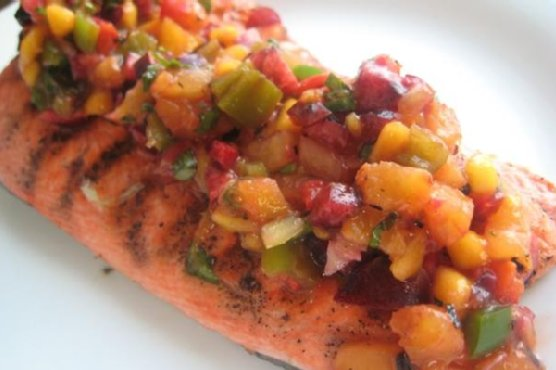 Grilled Salmon With Cherry, Pineapple, Mango Salsa