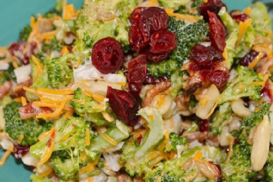 Broccoli, Dried Cranberry and Chicken bits