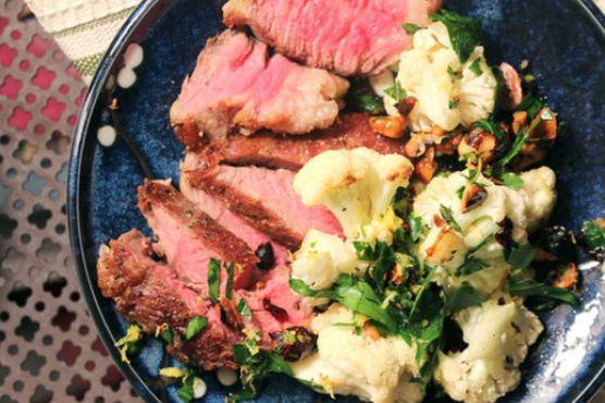 Make-Ahead Steak with Hazelnut Gremolata and Cauliflower