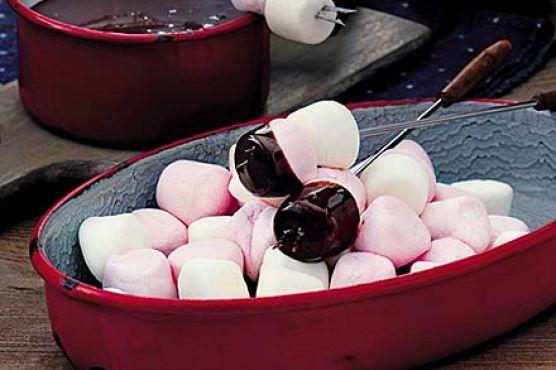 Chocolate fondue & toasted marshmallow