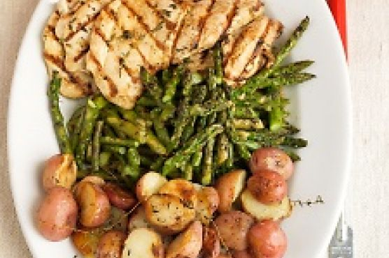 Garlic-marinated Chicken Cutlets With Grilled Potatoes