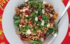 Warm Kale, Farro and Winter Fruit Salad