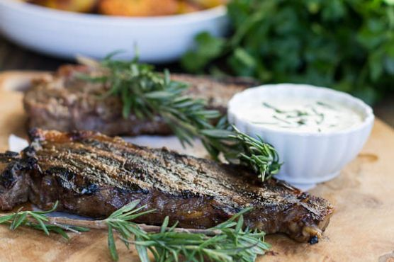 New York Strip Steaks with Horseradish Mustard Sauce