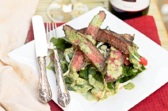 Grilled Flank Steak Salad with Creamy Cilantro Dressing
