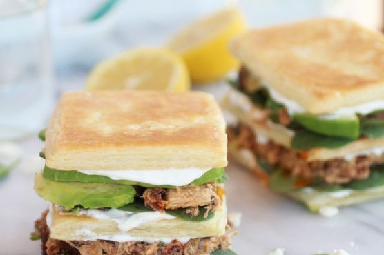 Greek Tuna + Sun-Dried Tomato + Avocado Napoleons
