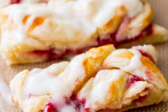 Iced Raspberry Danish Braids