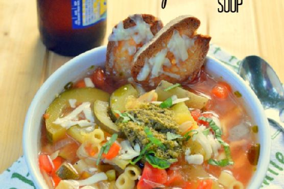Slow Cooker Summer Vegetable Pesto Soup {and a Slow Cooker Giveaway!}