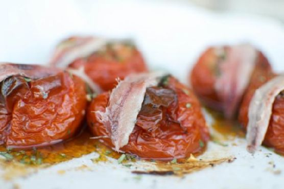 Savory Slow Roasted Tomatoes with Filet of Anchovy