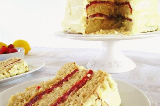 Almond Cake With Meyer Lemon Curd Cream and Raspberry Gelée