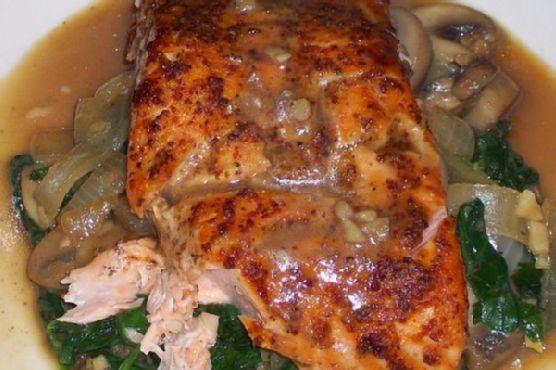 Asian Honey Mustard Salmon On Spinach and Mushrooms