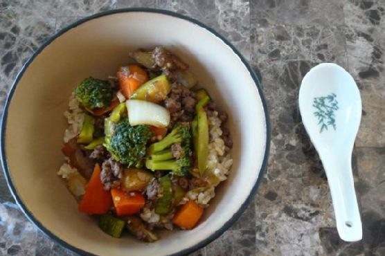 Asian Vegetable Stir Fry With Ground Beef