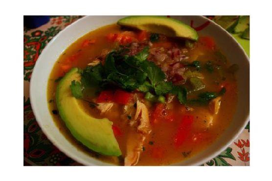 Avocado, Corn, Tomato and Tortilla Soup