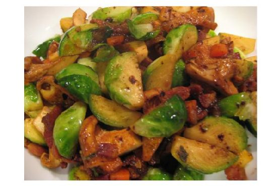 Bacon Brussels Sprouts With Chanterelle Mushrooms