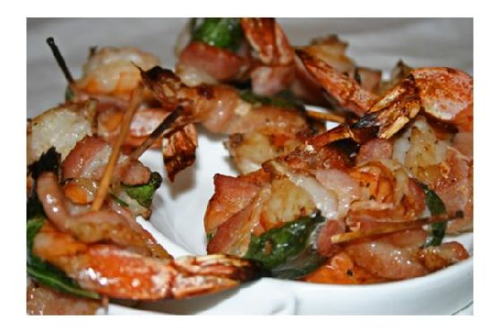 Bacon Wrapped Prawns With Basil and Tellicherry Pepper