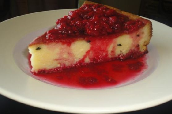 Baked Passion Fruit Cheesecake With Vanilla Raspberry Sauce