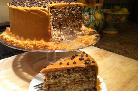 Banana Chocolate Chip Cake With Peanut Butter Frosting - gluten free, dairy free, soy free