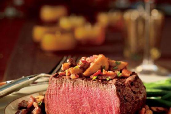 Beef Tenderloin Steaks with Seared Mushrooms and Red Wine Vinaigrette