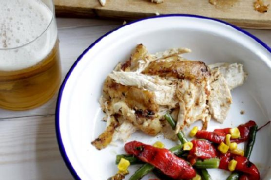 Beer Can Chicken, Country Style Vegetables with Roasted Garlic