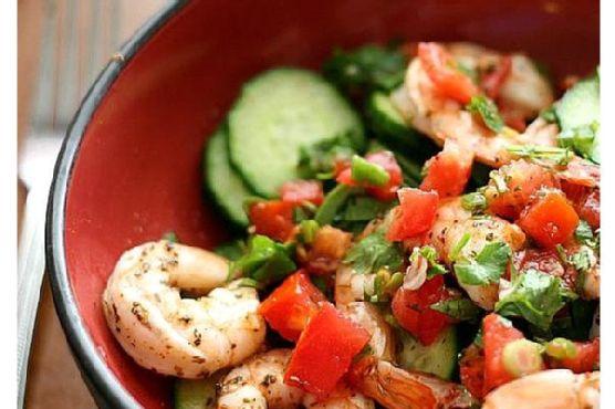 Cajun Shrimp and Marinated Cucumber Salad