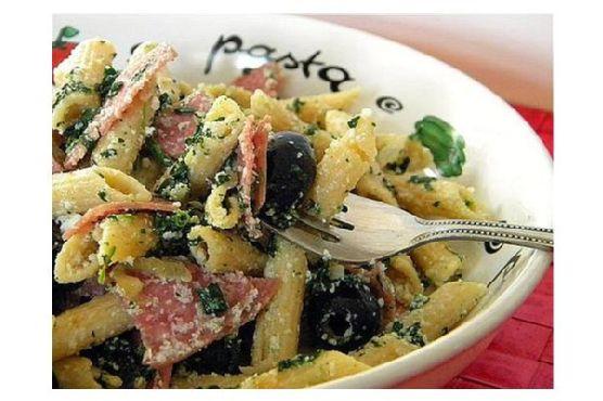 Cheesy Lemon Pasta W/ Salami, Olives & Spinach