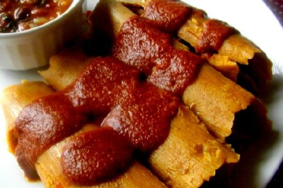 Chicken and Vegetarian Tamales With Red Mole Sauce