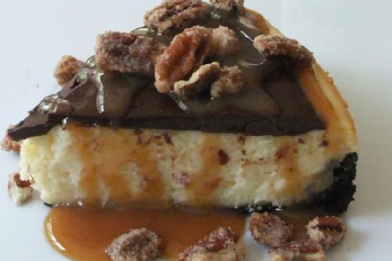 Chocolate-Caramel-Pecan Cheesecake Bliss