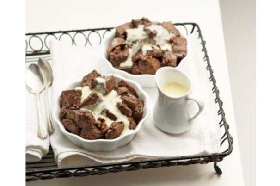 Chocolate-Walnut Bread Pudding