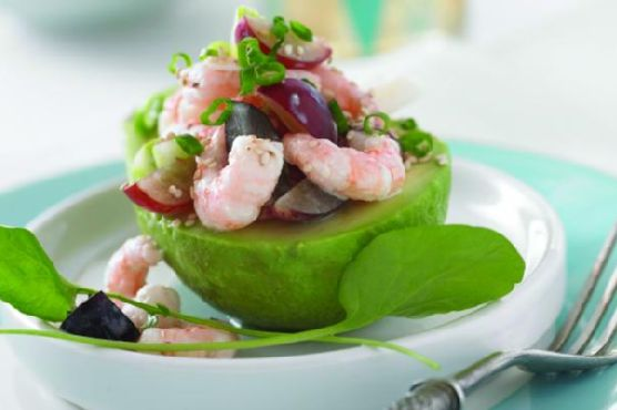 Coastal Avocado Salad with Grapes and Shrimp
