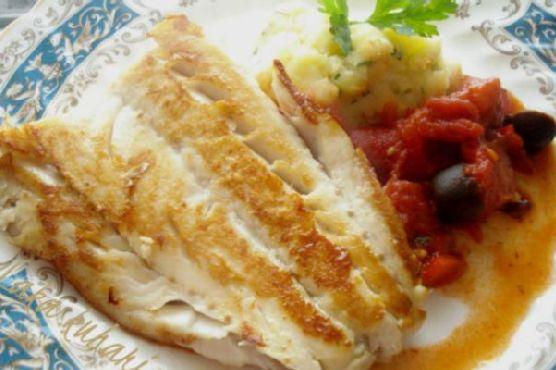 Cod with Tomato-Olive-Chorizo Sauce and Mashed Potatoes