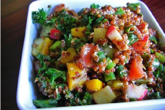 Colorful Red Quinoa Not So Tabbouleh Salad