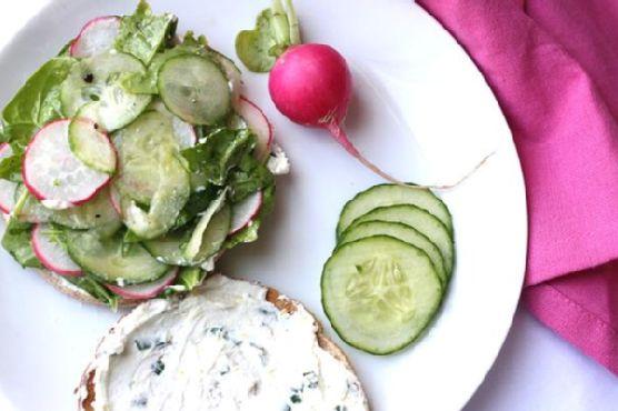 Cuke & Radish Sandwich with Lemon-Herb Goat Cheese Spread