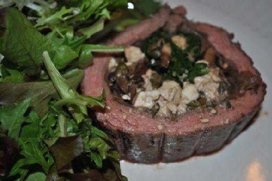 Flank Steak Stuffed With Mushrooms and Feta Cheese
