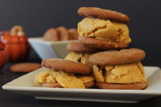 Ginger Snap and Pumpkin Ice Cream Sandwiches