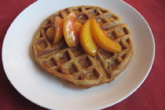 Gingerbread Waffles With Cinnamon Peach Topping