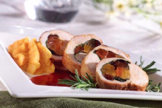 Gluten Free Fruit Stuffed Turkey Breast with Hibiscus Sauce