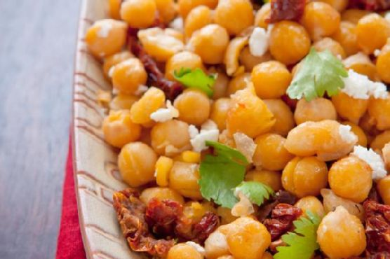 Golden Chickpeas With Cilantro, Garlic, Sun-Dried Tomatoes and Goat Cheese