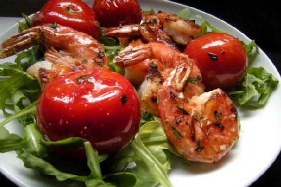 Grilled Prawns (Shrimp) With Rocket (Arugula) and Campari Tomatoes