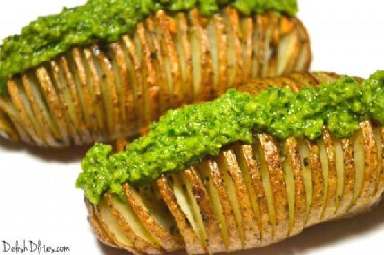 Hasselback Potatoes with Macadamia Nut Pesto