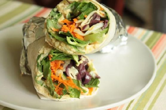 Hummus Wrap With Carrots and Cucumbers
