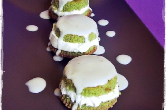 Italian Pistachio Cupcake With Buttercream Icing and Simple Sugar